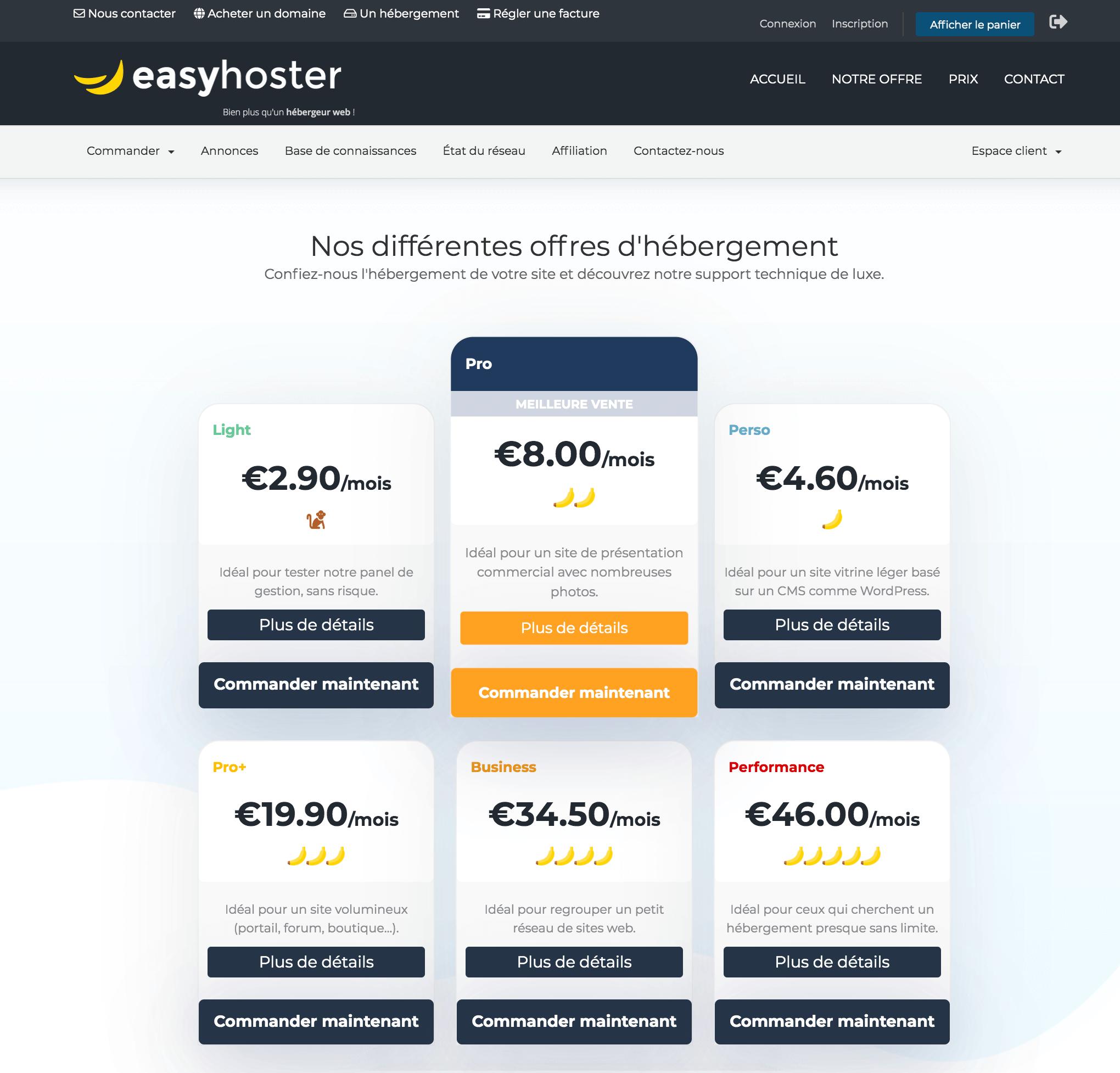 EasyHoster prix, EasyHoster tarif